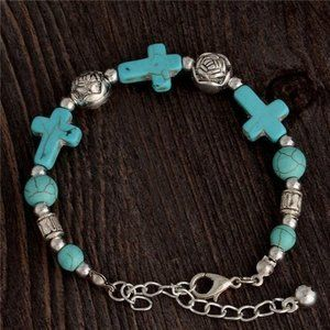 Jewelry - NWOT Synthetic Turquoise Cross Bracelet